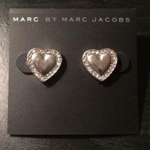 Marc by Marc Jacobs Silver Heart Earrings